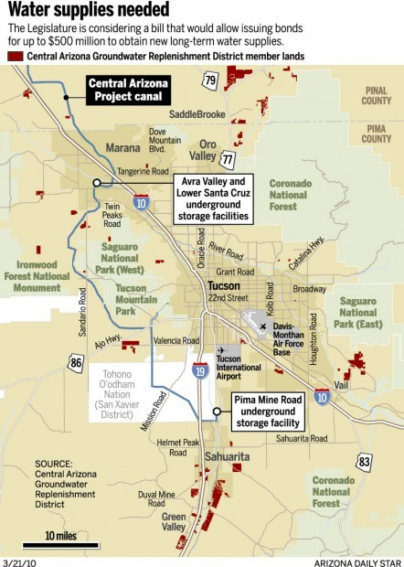 Map Of Central Arizona.Decision On Water Could Hit Here Hard Environment Tucson Com