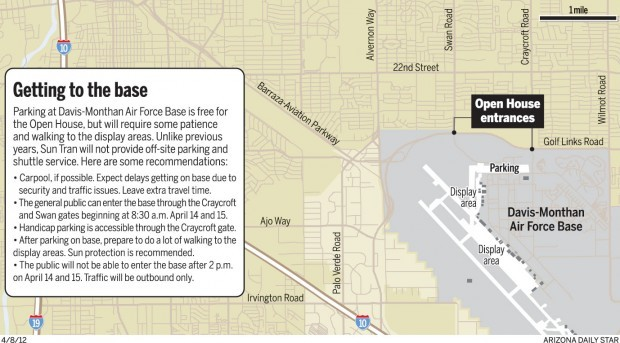 """Getting to Davis-Monthan Air Force Base for the 2012 """"Thunder & Lightning over Arizona"""" open house"""