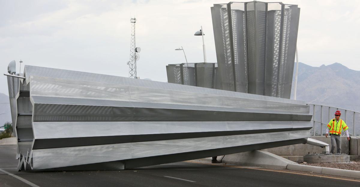 Sculpture on overpass