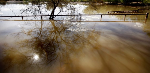 Water retention basin full on S. side; taxpayers benefit