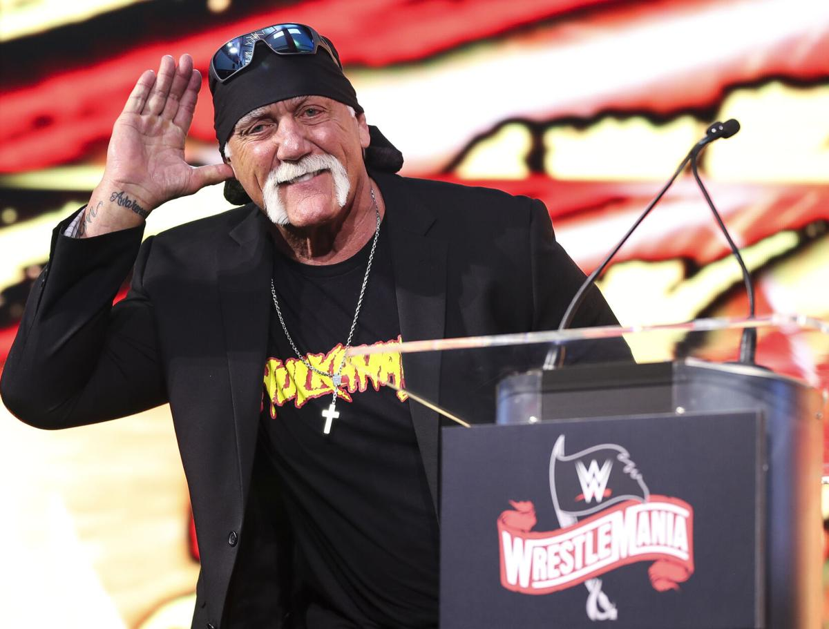 Hulk Hogan takes the stage during the announcement that WrestleMania 36 will be held in Tampa in 2020, on March 7, 2019 at Raymond James Stadium in Tampa, Florida.