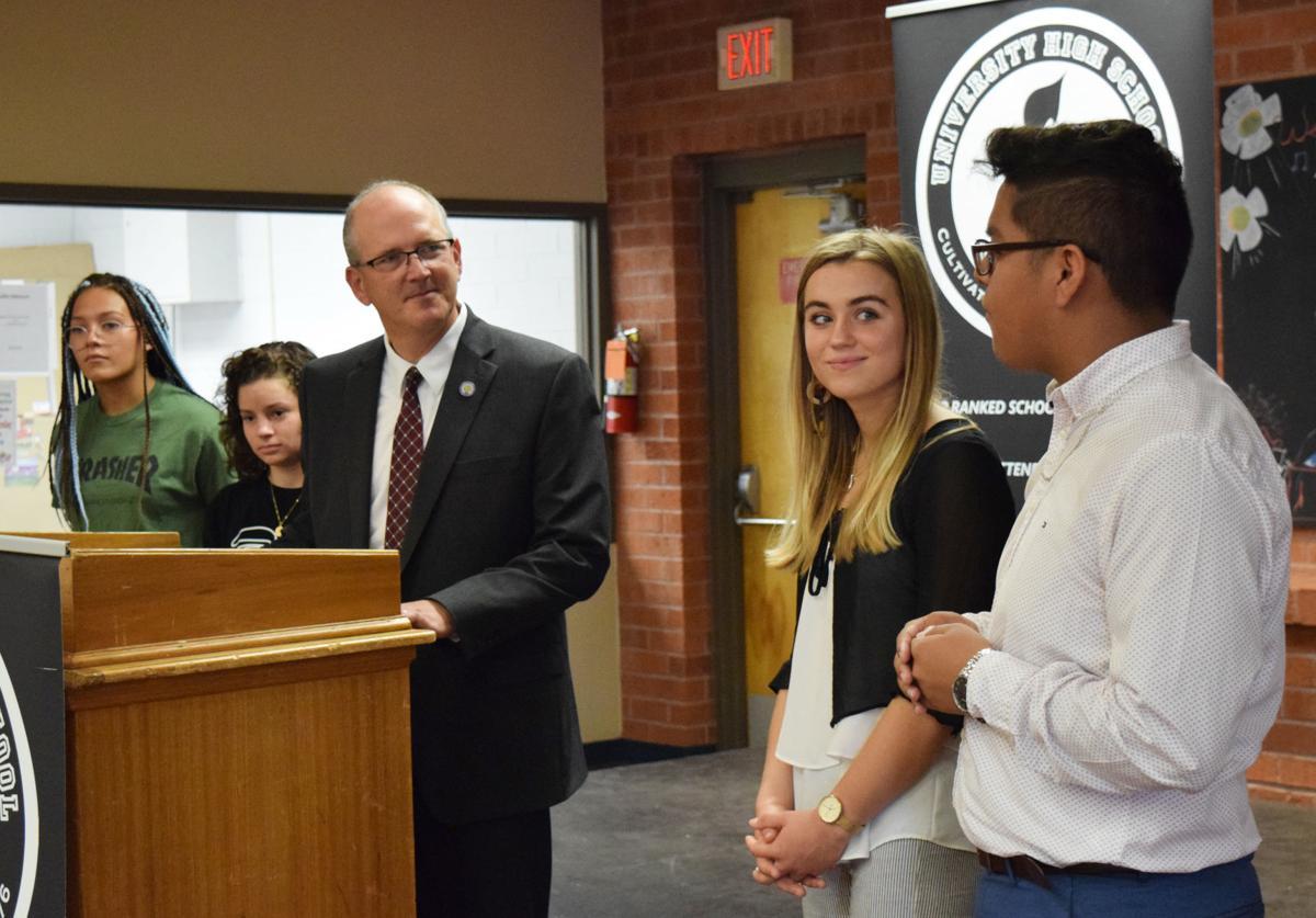 Assistant Secretary of Education Scott Stump visits University High School