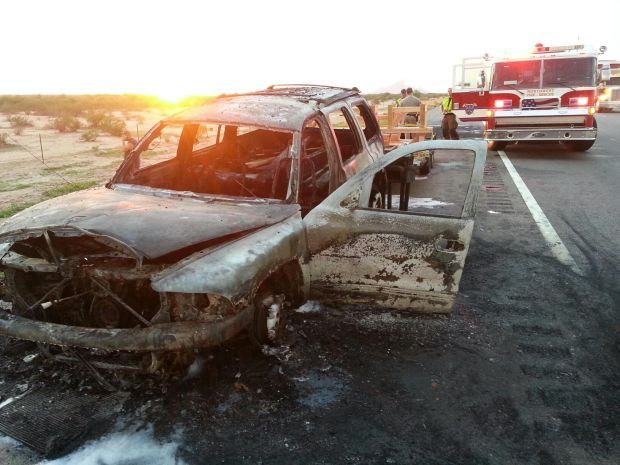 Car fire causes traffic tie-up on I-10 outside of Tucson
