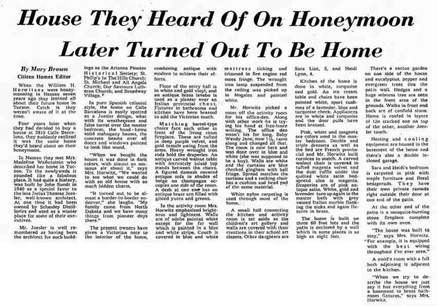 Tucson Citizen article July 21, 1962