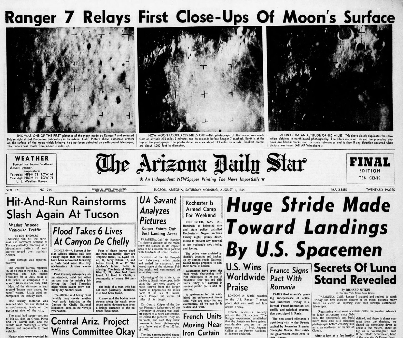 Arizona Daily Star front page Aug. 1, 1964 | | tucson.com