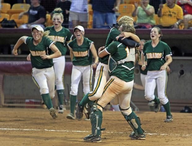 High school softball championship: CDO 11, Peoria Sunrise Mountain 9, 8 innings: Party time for Dorados