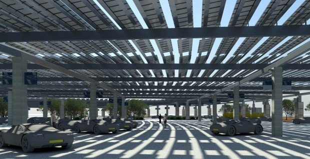 An Artist S Rendering Shows The Planned Solar Parking Canopy At Tucson International Airport Which Will Eventually Cover Entire Lot In Front Of