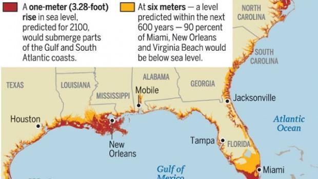 UA Climate Research Big Stretch Of US Coast At Risk Of Rising - Florida sea level rise map