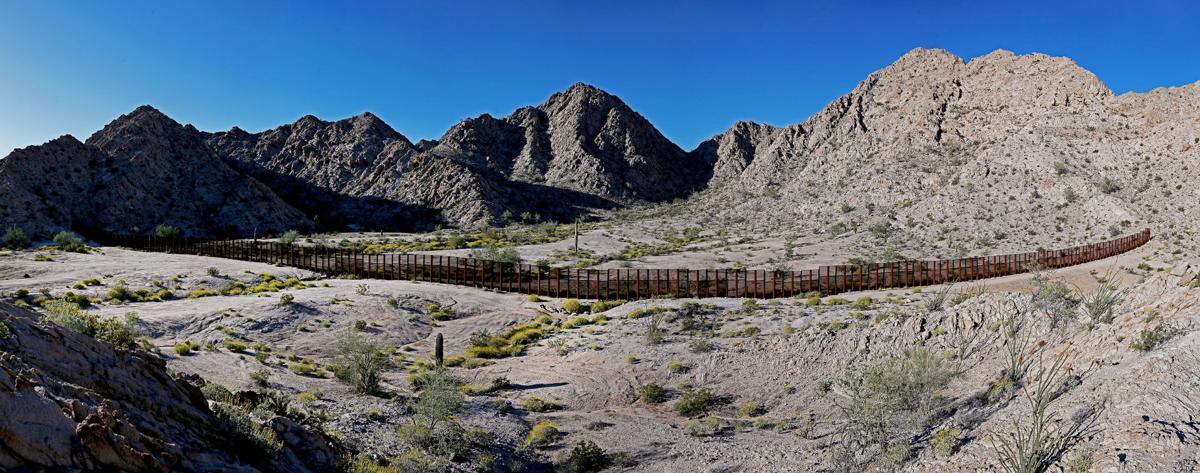 Border fence in the Tinajas Altas Mountains