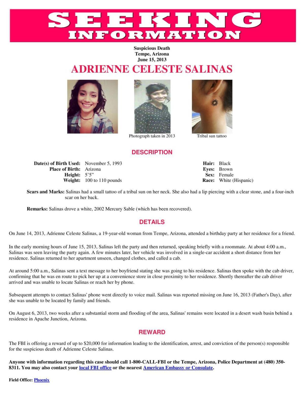 Seeking information on the death of Adrienne Celeste Salinas