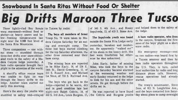 Big drifts maroon three Tucson Boys Scouts (Nov. 17, 1958)