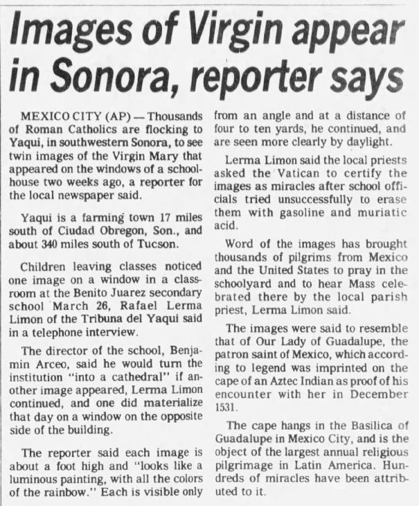 April 9, 1982: The Virgin in Sonora