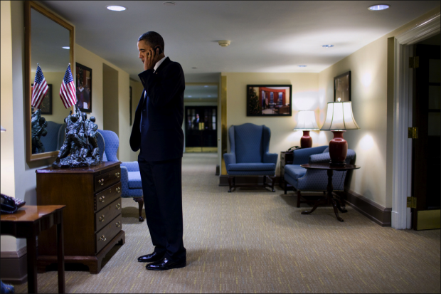 President Barack Obama talks with Arizona Gov. Jan Brewer concerning the shooting of Rep. Gabrielle Giffords