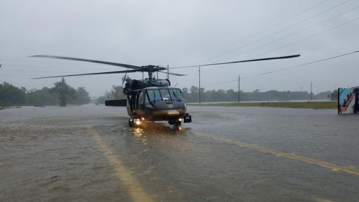 CBP helicopters in flooded Houston