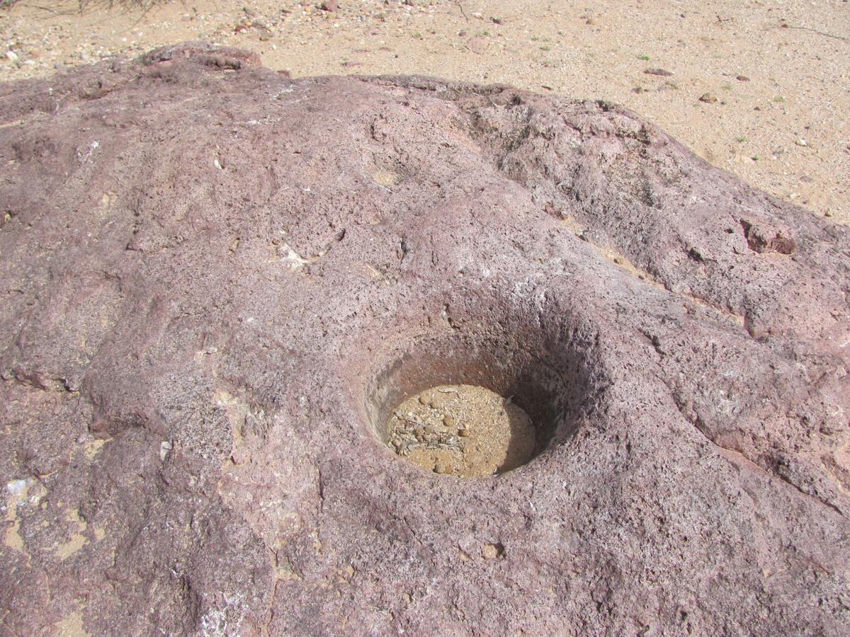A bedrock mortar