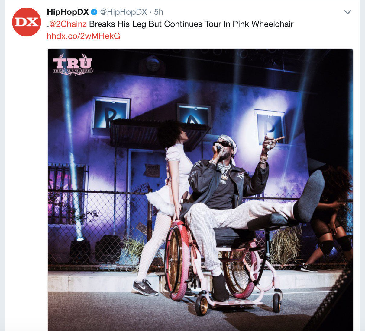 Chainz Launches Tour in Pink 'Trap' Wheelchair After Breaking Leg
