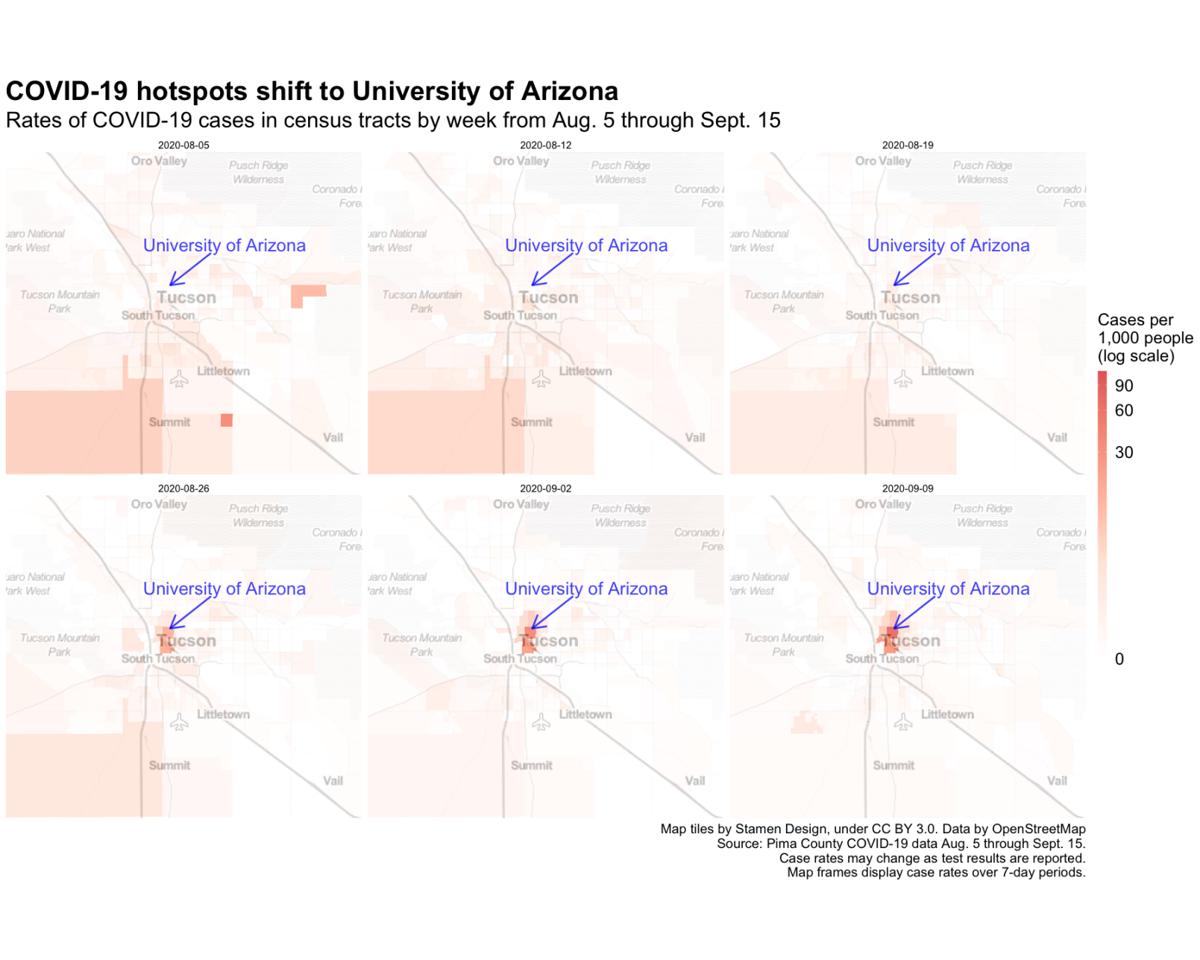 COVID-19 hotspots shift to University of Arizona Maps
