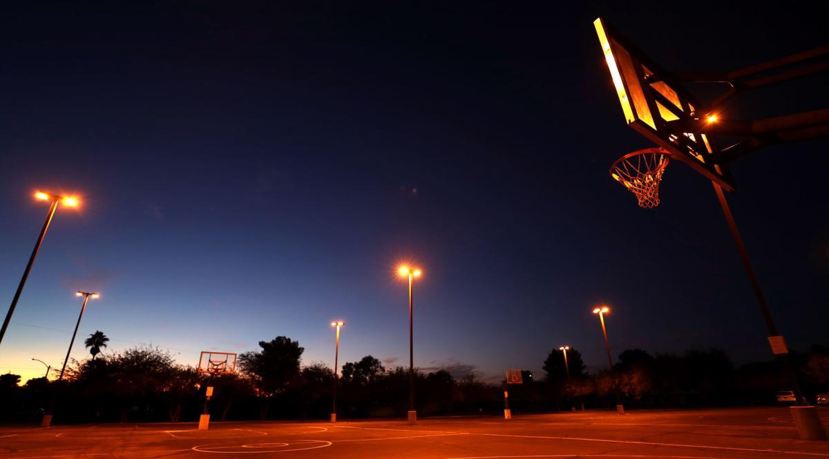 Shooting on Eastside basketball court