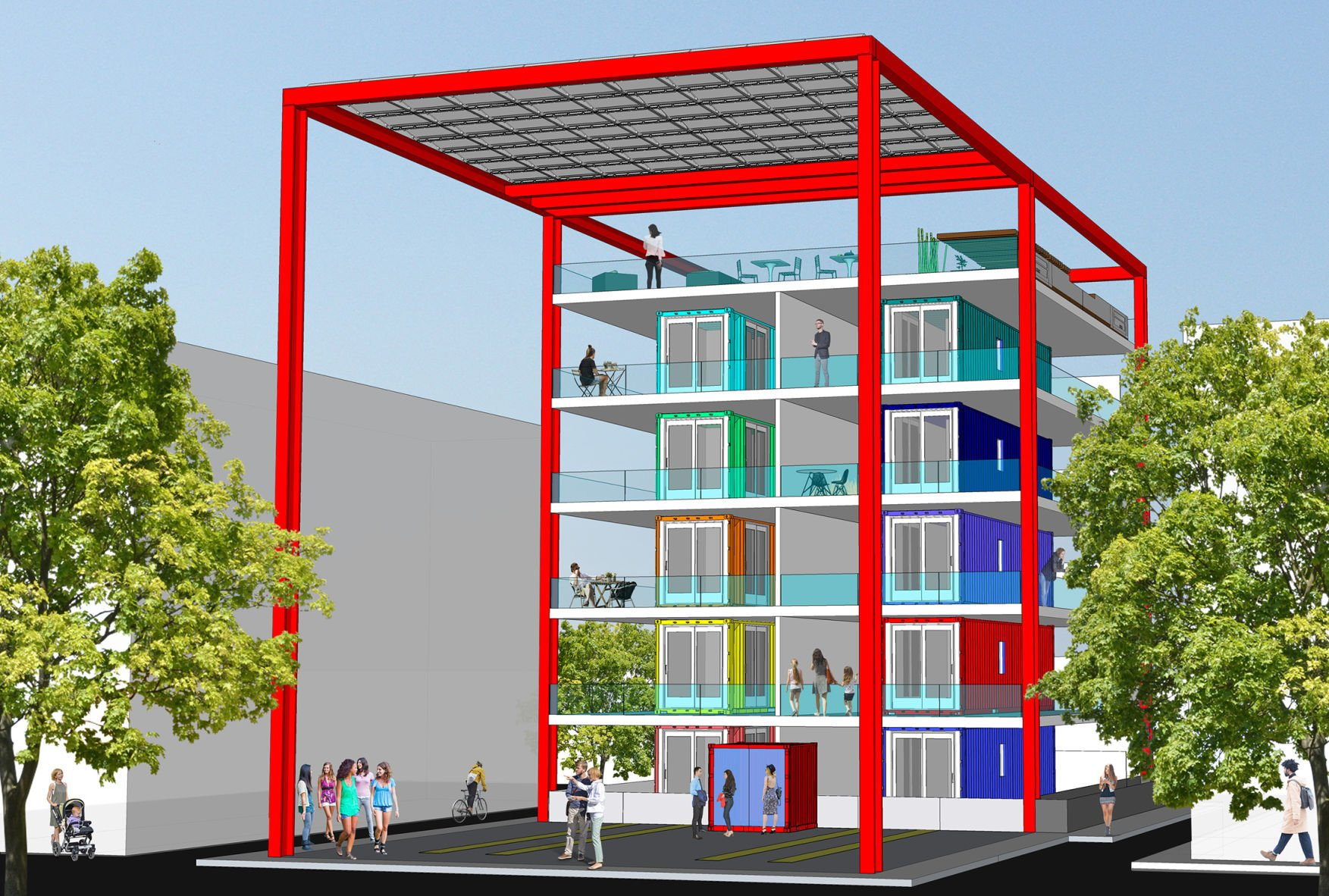 The Stackhouse is a steel structure with slots for shipping-container homes. Homebuyers can pick their container and rent a slot in the Stackhouse ... & Shipping container housing project to go up near downtown Tucson ...
