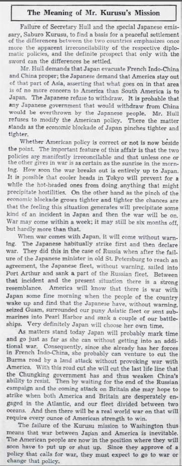 William R. Mathews editorial Nov. 28, 1941
