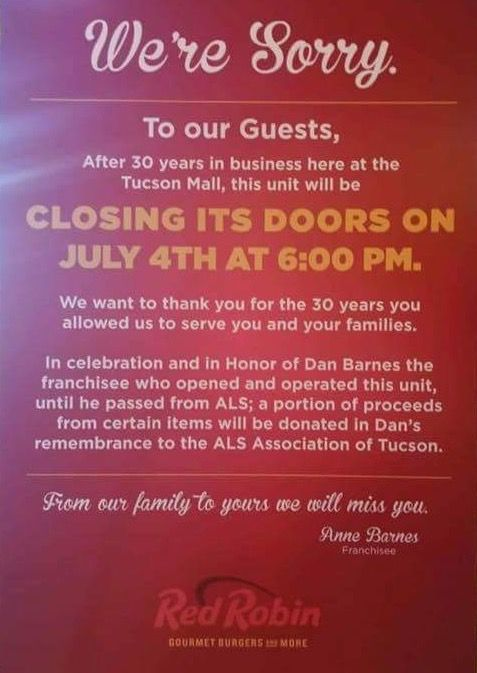 Tucson's lone Red Robin restaurant will close July 4 | Tucson