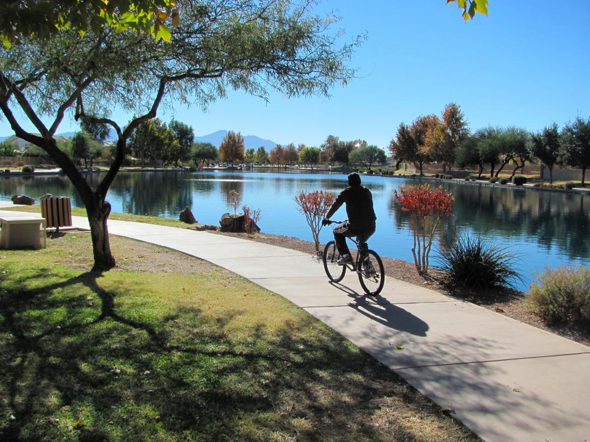 Cyclist at Sahuarita Lake