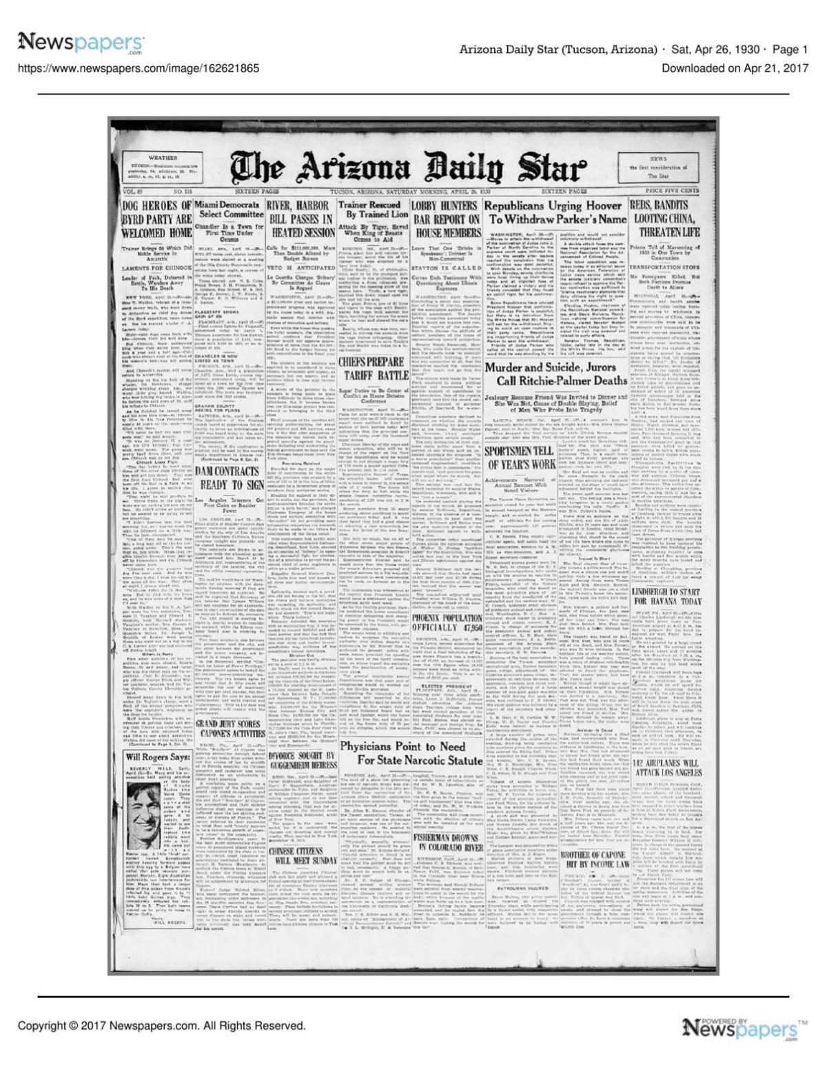 Arizona Daily Star front page April 26, 1930 pdf | | tucson com
