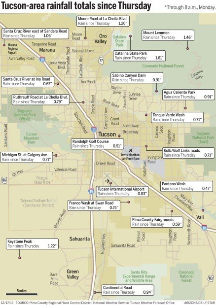 Map: Tucson-area rain totals since Thursday