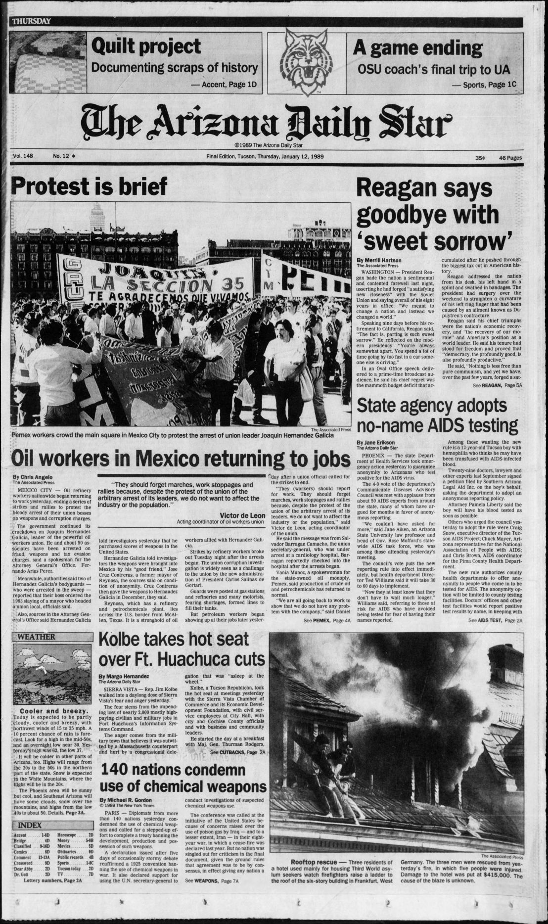 Historical Jan  12 Arizona Daily Star front pages | Tucson history