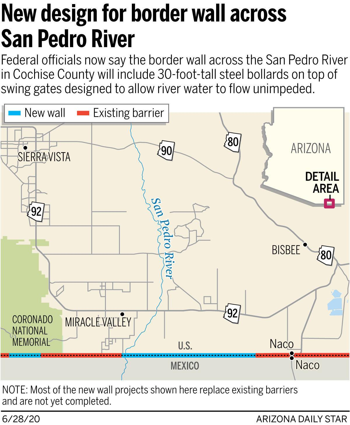 New design for border wall across San Pedro River