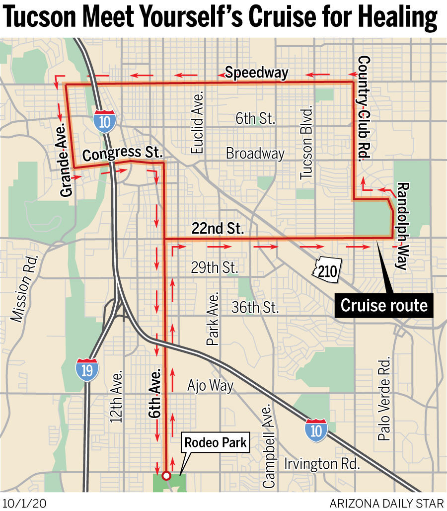 Tucson Meet Yourself's Cruise for Healing route map