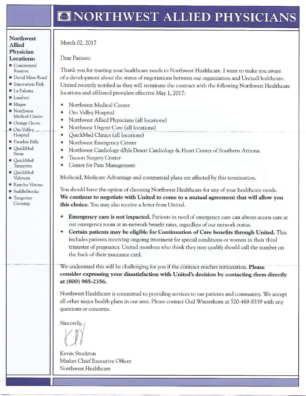 Letter from Northwest Healthcare | | tucson com