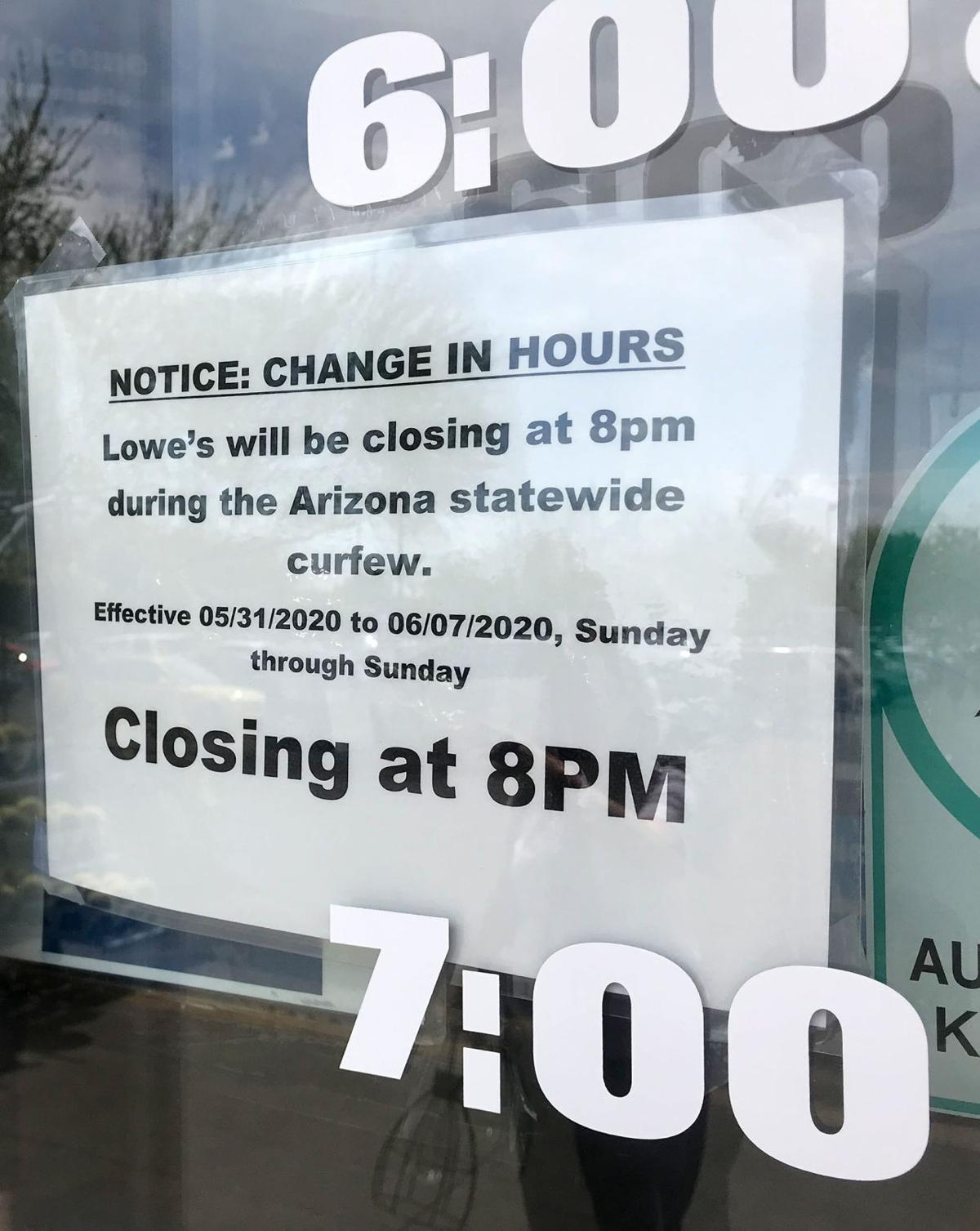 State of Arizona curfew, business hours