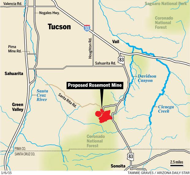 Rosemont Mine locator map