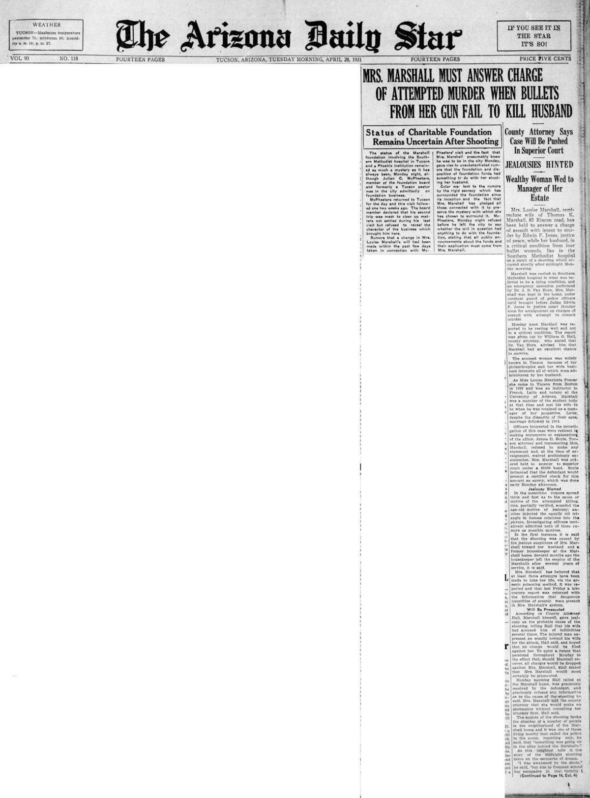 The headlines when Louise Marshall shot her husband