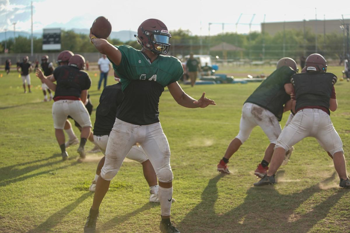 Walden Grove Quarterback Alex Lopez throws a screen pass during