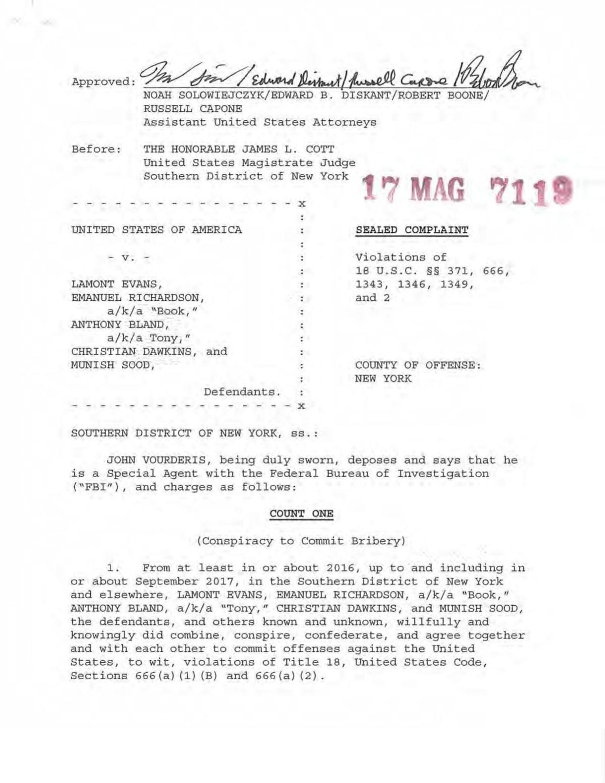 Federal complaint involving Book Richardson