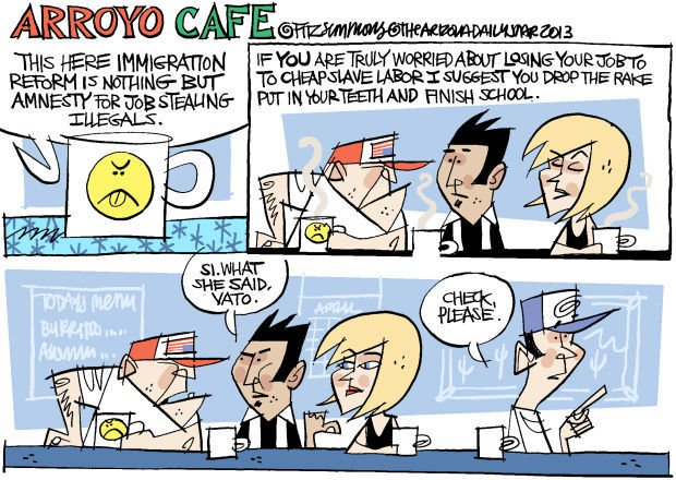 Daily Fitz Cartoon: Arroyo Cafe - Immigrant's song
