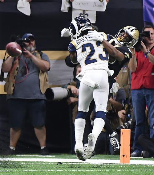 Los Angeles Rams cornerback Nickell Robey-Coleman defends New Orleans Saints receiver Tommylee Lewis in the NFC Championship game on Sunday, Jan. 20, 2019 at the Superdome in New Orleans, La. No penalty was called.