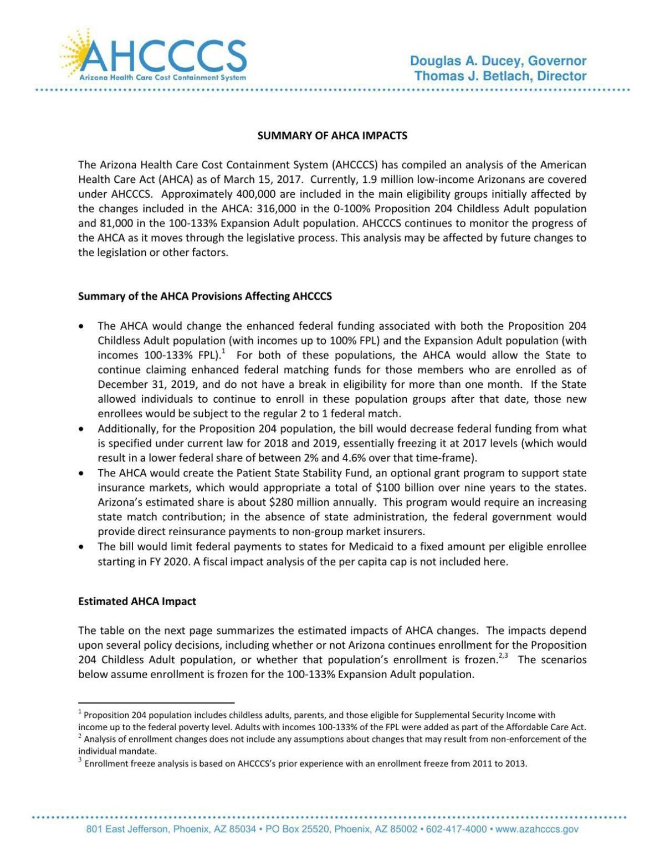 AHCA impact on AHCCCS
