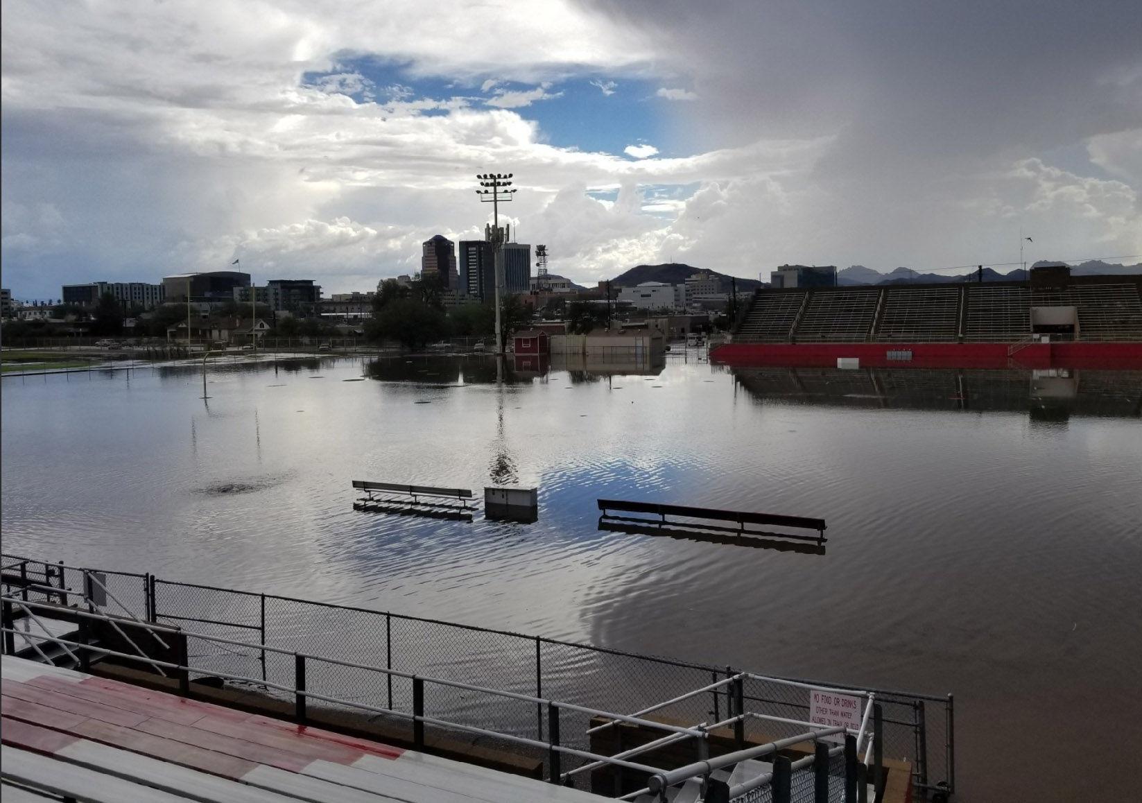 Tucson High School flooding Tucson High football