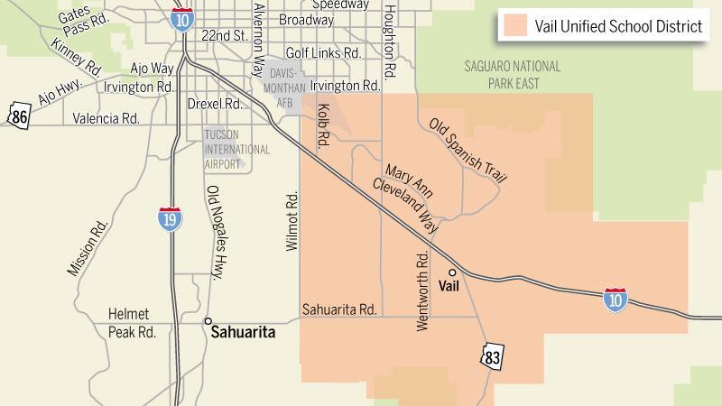 Vail Arizona Map.Vail Unified School District Map Tucson Com