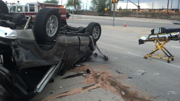 One seriously injured in midtown Tucson rollover