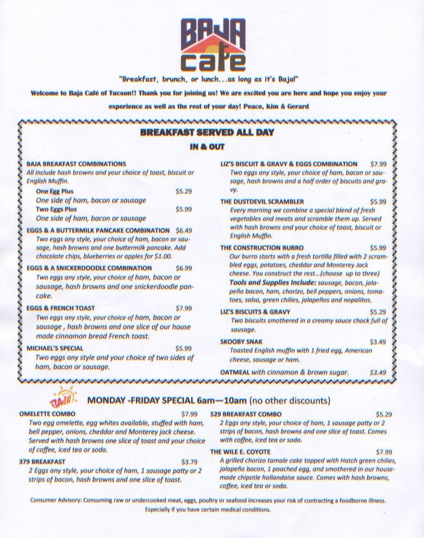 Baja Cafe menu