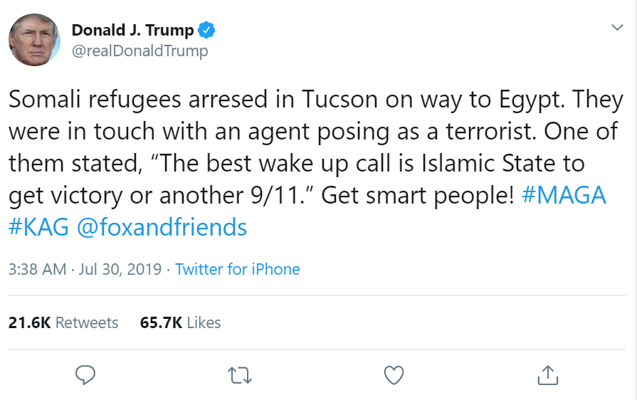 Trump's tweet on Tucson