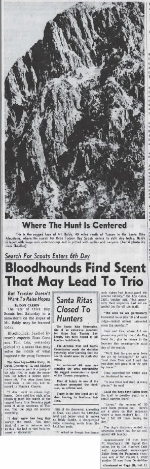 Bloodhounds find scent that may lead to trio (Nov. 21, 1958)