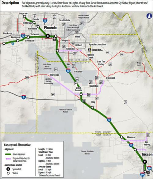 3 routes suggested for Tucson-Phoenix train