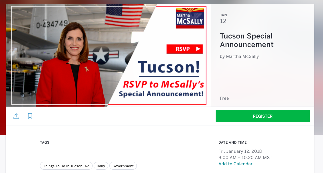 "McSally staff promises ""special announcement"" on Friday"