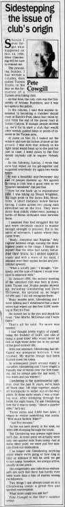 March 2, 1990: Sidestepping the issue of club's origin