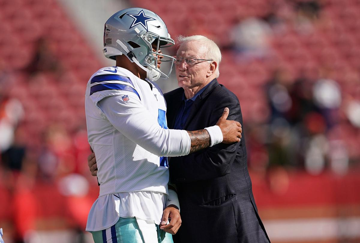 Quarterback Dak Prescott #4 and team owner Jerry Jones of the Dallas Cowboys hug each other during pregame warm ups prior to the start of an NFL preseason football game against the San Francisco 49ers at Levi's Stadium on Aug. 10, 2019 in Santa Clara, Calif.